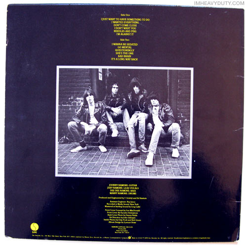 Ramones - Road to Ruin (album cover back)